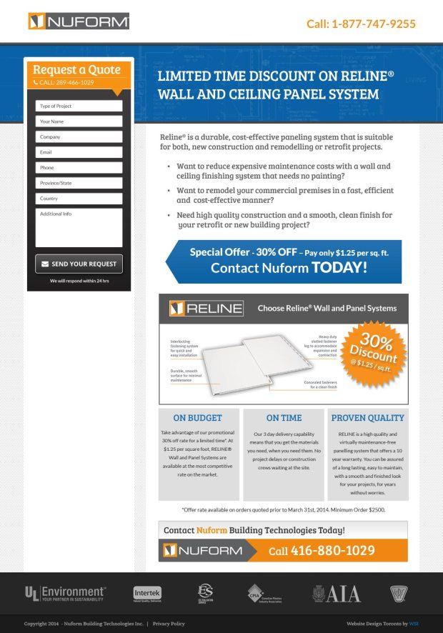 Pay Per Click landing page - Reline product